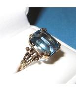 Vintage Art Nouveau 14K Gold and Blue Topaz Ring Size 6.5 Rectangle Cut ... - $791.01