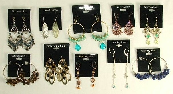 Bloomingdales Dangle Earrings Wholesale Lot 10 Pairs Total MSRP $198
