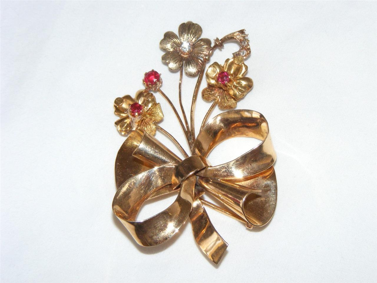Antique 18K Gold Flower Bouquet Brooch Rubies Rose Cut Diamonds Trombone Clasp