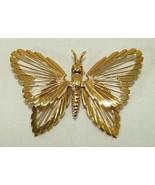 Monet Brooch Pin Butterfly Goldtone Openwork De... - $9.89