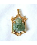 Vintage 18K Gold Jade Pendant Carved Buddha in Temple - $315.81
