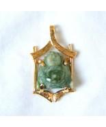 Vintage 18K Gold Jade Pendant Carved Buddha in ... - $315.81