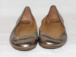 Sofft Since 1927 Leather Bronze Metallic Chain Across Vamp Flats Size: 8 M