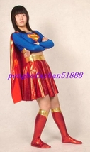 HALLOWEEN SUIT RED/BLUE SHINY METALLIC SUPERWOMAN DRESS COSTUMES WITH CA... - $59.99