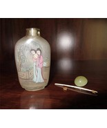 Antique Signed Chinese Reverse Hand Painted Glass Snuff Bottle 2 Women H031 - $108.90