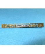 Antique Art Nouveau 10k Gold Blue Topaz Bar Pin... - $147.51