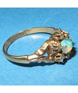 Opal Diamond Ring 14K Gold Claw Prongs Snake Shank Unique Antique Mystic - $355.41