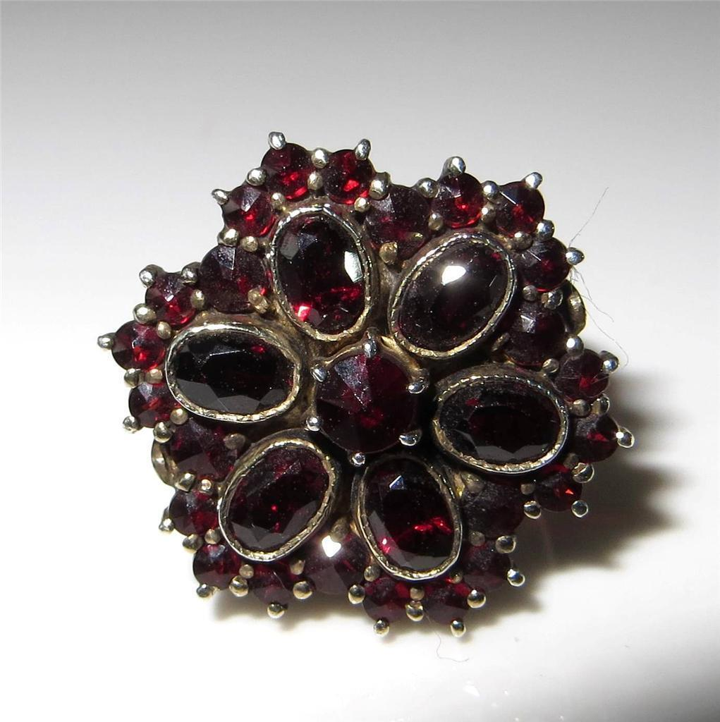 c1915-1920 Bohemian Garnet Ring 900 Silver Size 6.25 Rose & Oval Cut