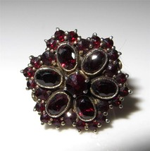 c1915-1920 Bohemian Garnet Ring 900 Silver Size 6.25 Rose & Oval Cut - $246.51