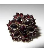 c1915-1920 Bohemian Garnet Ring 900 Silver Size 6.25 Rose & Oval Cut - $246.51