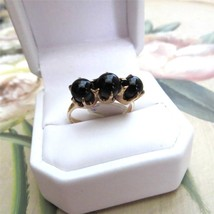 Art Nouveau 14K Gold Onyx Orbs Ring Claw Setting 4.2 grams Size 8 c1910 - $365.31