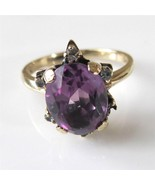 c1920 10K Gold Violet Sapphire Diamond Ring Handwrought  Ring 2.5 Carats... - $474.21