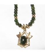 c1950 14k Gold and Nephrite Jade Pendant Neckla... - $187.11