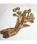 c1950 18k Gold Imperial Jade and Pearl Flower B... - $870.21
