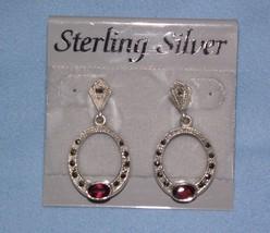 Macy's Sterling Silver Dangle Earrings Oval Victorian Style Garnet Marca... - $18.80