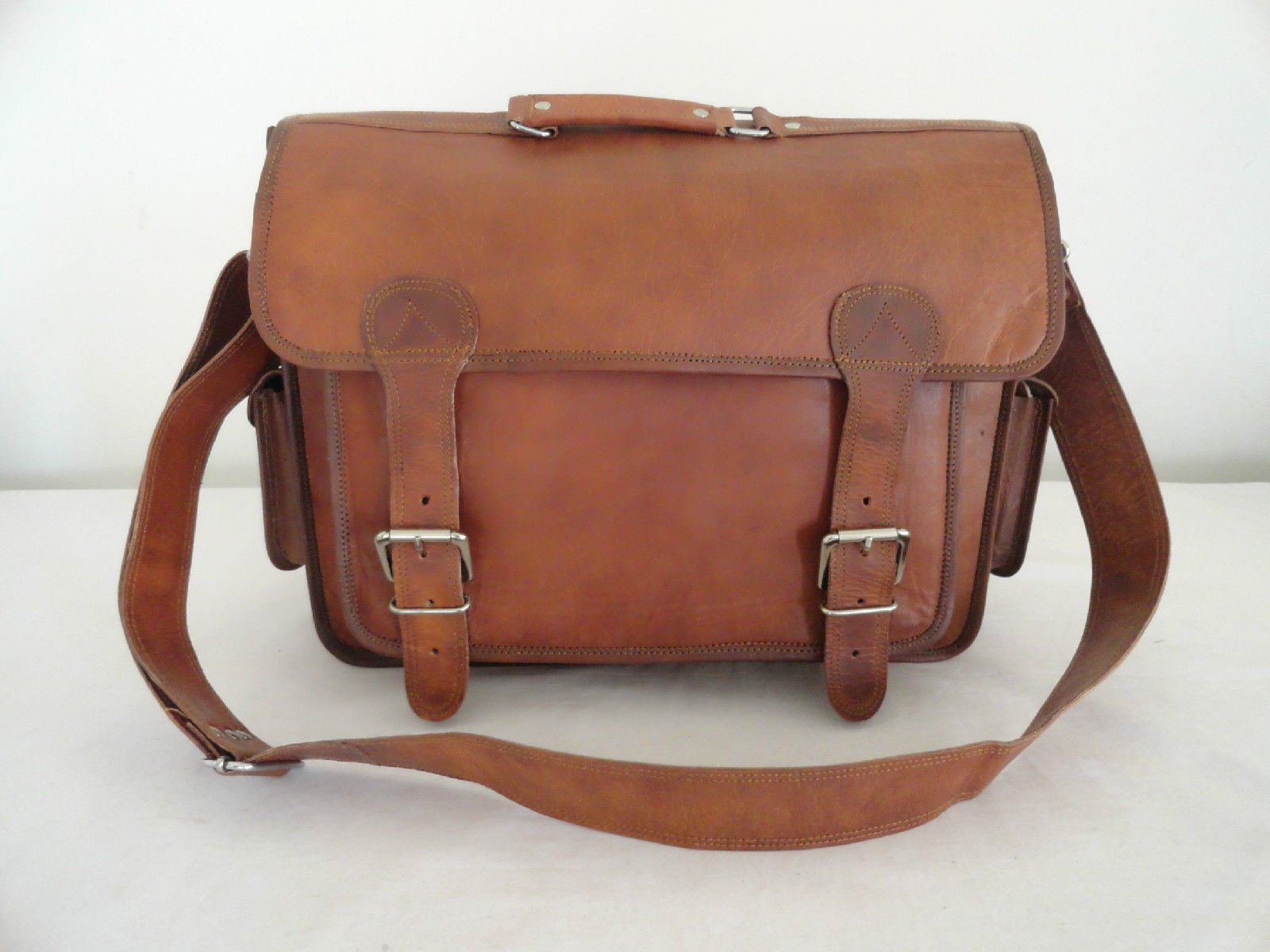 """17"""" Real Brown Leather Briefcase Macbook Laptop Satchel Office Attache Suitcase"""