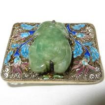 Carved Jadeite Jade Cannetille Filigree Brooch Turquoise Blue Plum Ename... - $321.75