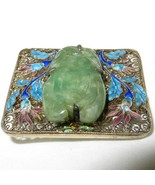 Carved Jadeite Jade Cannetille Filigree Brooch Turquoise Blue Plum Ename... - $321.75
