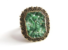 Art Nouveau 14K Gold Carved Jadite Jade Ring  Basse Taille Crown - $494.99