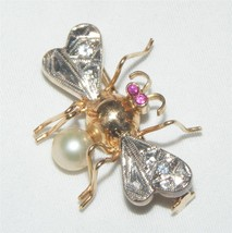 Antique 14K Gold Insect Fly Bee Pin Brooch Ruby Diamond Pearl Art - $752.40
