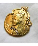 14K Gold Art Nouveau Pendant Female Repousse wi... - $692.01