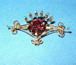 Antique Art Nouveau 14k Gold Bohemian Garnet Crowned Scroll Floral  Broo... - $227.70
