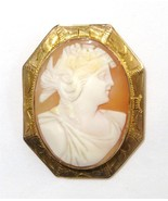 Antique Shell Cameo Brooch Goddess Ceres Etched... - $247.49