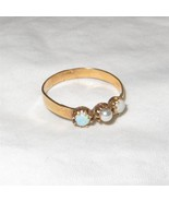Antique Victorian 14K Gold Ring Opal and Pearl Size 6.5 - $190.08