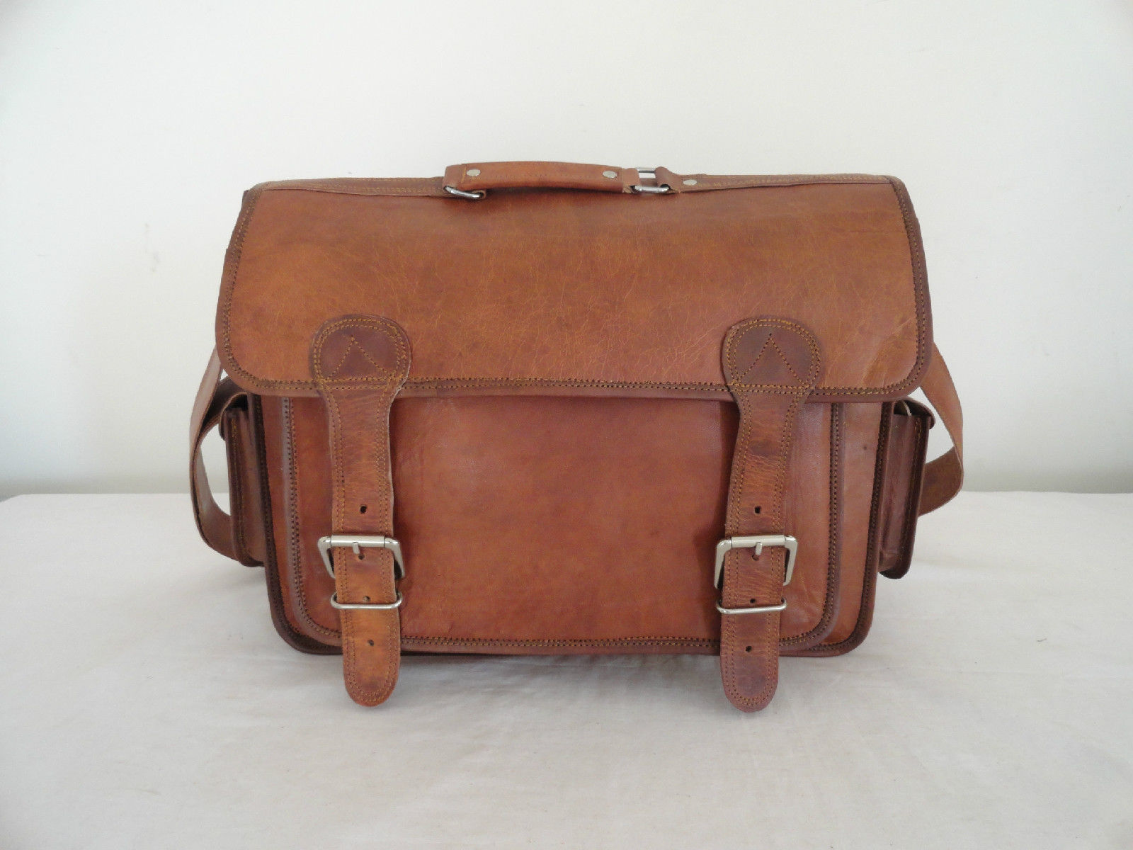 """17"""" Real Brown Leather Briefcase Macbook Laptop Satchel Office Attache Suitcase image 2"""
