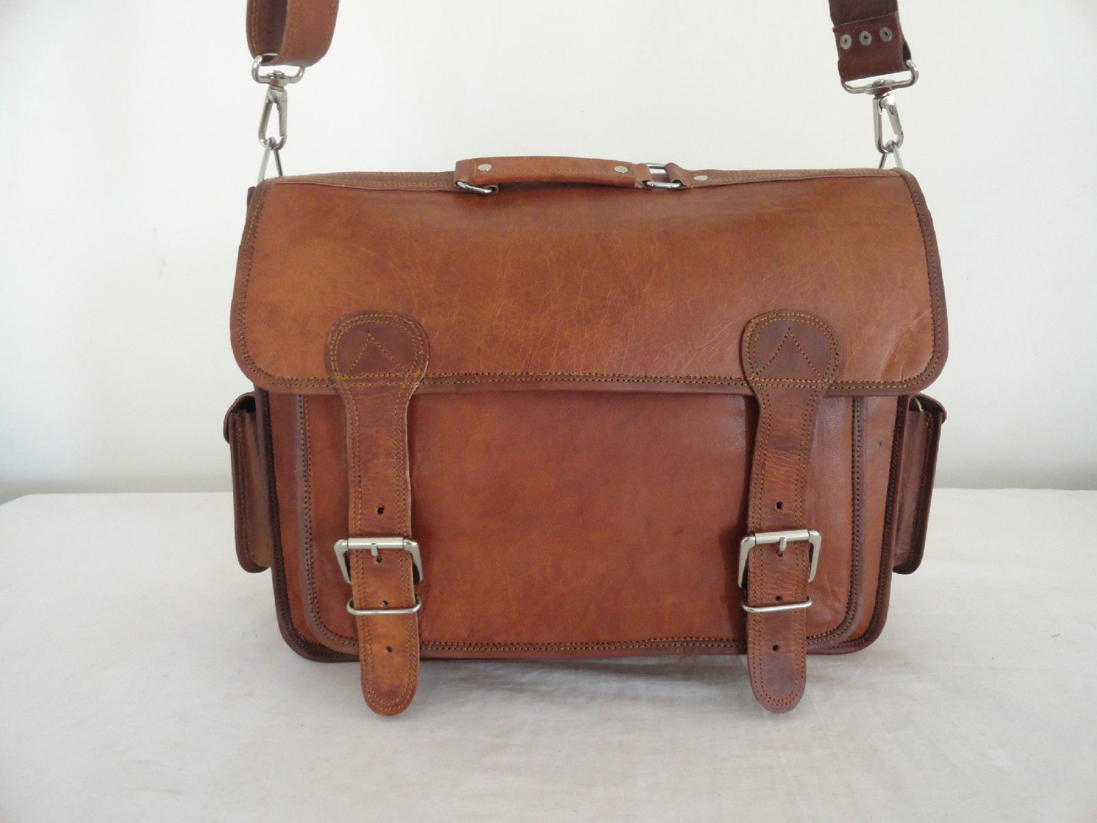 """17"""" Real Brown Leather Briefcase Macbook Laptop Satchel Office Attache Suitcase image 4"""
