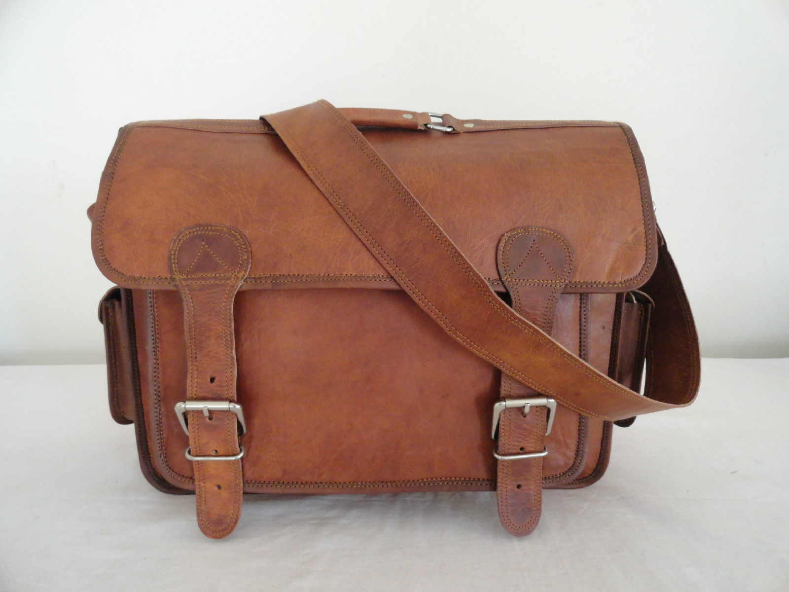 """17"""" Real Brown Leather Briefcase Macbook Laptop Satchel Office Attache Suitcase image 3"""