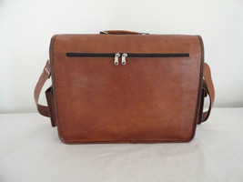 """17"""" Real Brown Leather Briefcase Macbook Laptop Satchel Office Attache Suitcase image 7"""