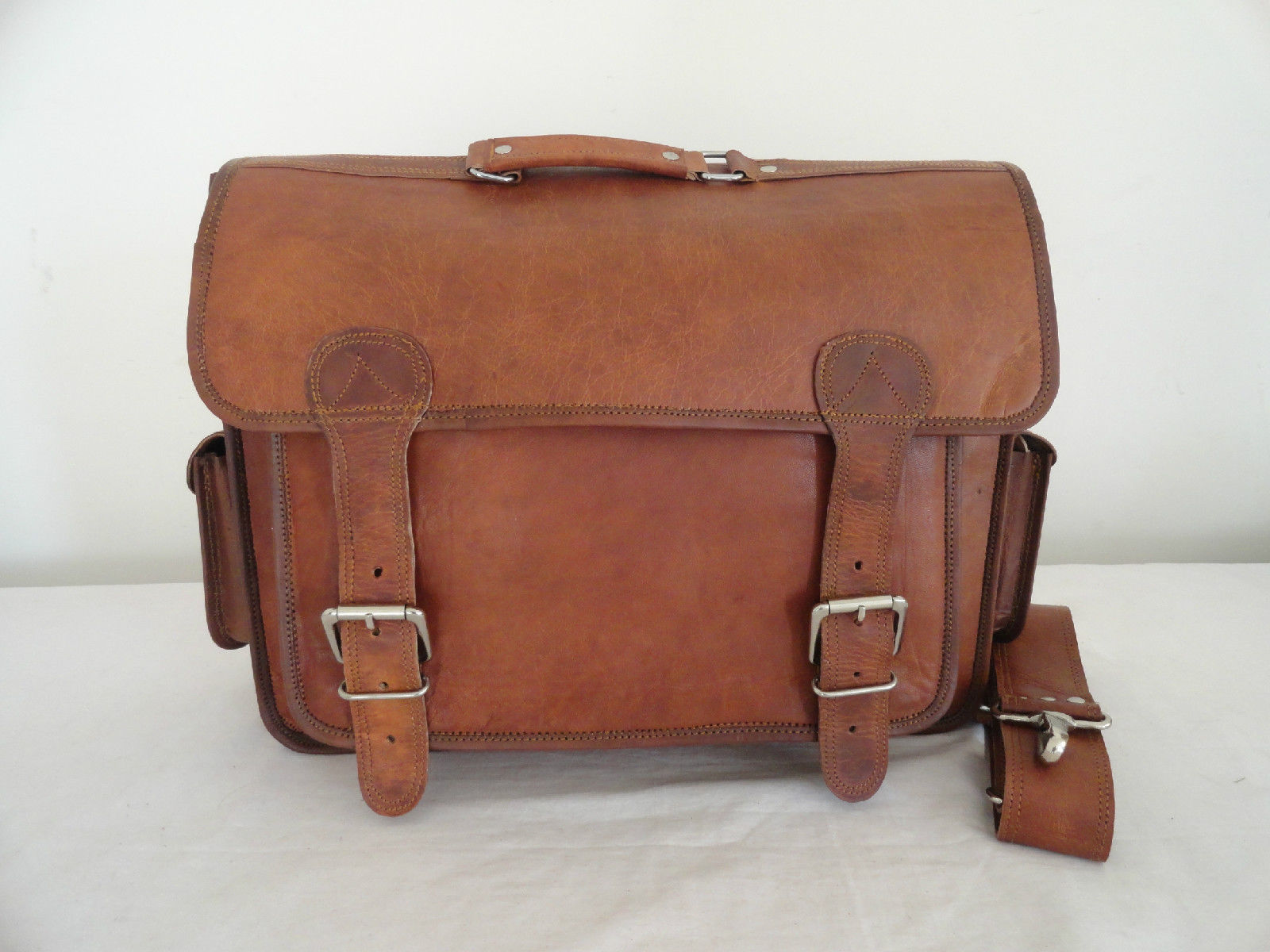 """17"""" Real Brown Leather Briefcase Macbook Laptop Satchel Office Attache Suitcase image 8"""