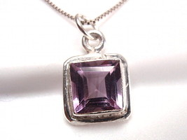 Faceted Purple Amethyst Radiant Necklace 925 Sterling Silver Square New - $15.85