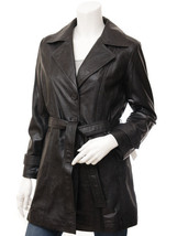 QASTAN Women's New Elegant / Sophisticated Black Long Sheep Leather Coat... - $177.21+