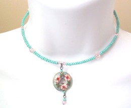 Artisian Collar Necklace Cloisonne Floral Circle Pendant - $15.83