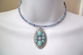 Vintage Bonnie J Blue & Turquoise Necklace Hanging Pendant Designer Signed - $17.81
