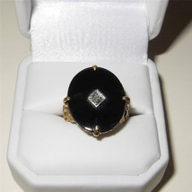 Antique Art Nouveau 14K Gold Onyx and Diamond Ring Size 6.5 Floral Shoul... - $543.51