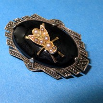 Vintage Art Deco Insect Pin Brooch Onyx Pearl Marcasites HB Germany 925,... - $177.21