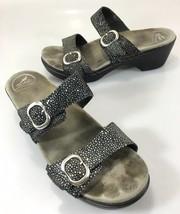 Dansko Womens 41 EU 10.5-11 US Sophie Black Shagreen 2 Strap Slide Sandals - $63.72