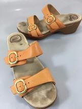 Dansko Womens 41 EU 10.5-11 US Sophie Orange Leather 2 Strap Slide Sandals - $63.72