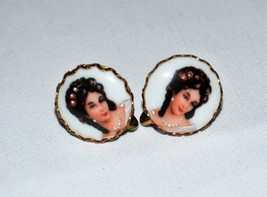Limoges French Vintage earrings,  Porcelain lady in rose dress screw typ... - $23.22