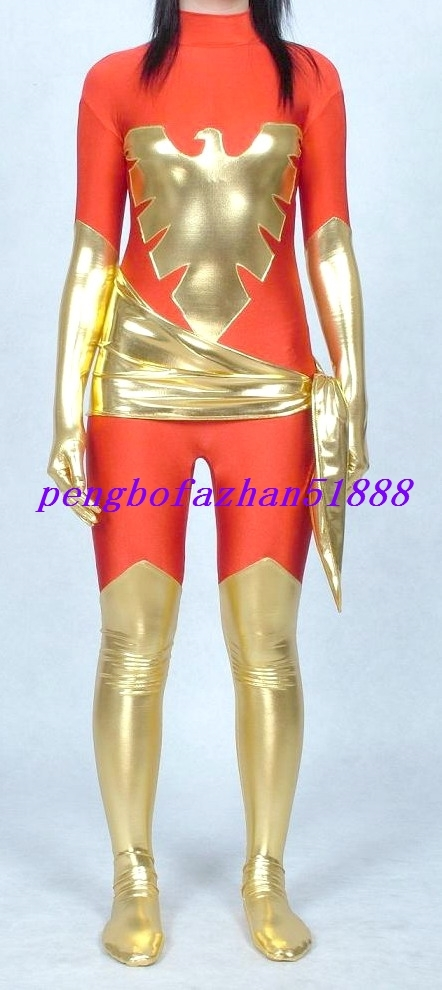 Lycra Spandex Zentai Red/Gold Phoenix Suit and 50 similar items
