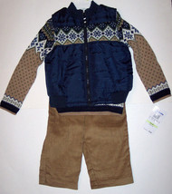 QUILTED VEST - SWEATER - PANTS SET (3 PC), Polyester, Cotton, Corduroy - $32.00