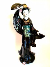 Asian Geisha Girl Figurine Black Floral Kimono ... - $127.70