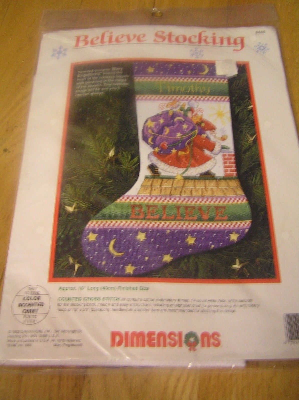 Primary image for Mary Engelbreit Cross Stitch Kit Believe Stocking Christmas Dimensions 8446 New