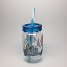 OLAF-CUP MASON JAR STYLE WITH STRAW - $7.95
