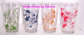 Disney Drinking Glasses Mickey Donald Goofy Minnie Working Food Service Lot of 4 - $69.95