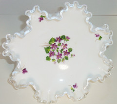 "Fenton Silver Crest White Ruffled 8"" Bowl Hand Painted Violets Milk Glas... - $69.95"
