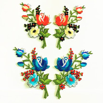 Embroidered Applique Flowers Patch Iron On Cloth Tulip Patchwork Fabric ... - $9.95